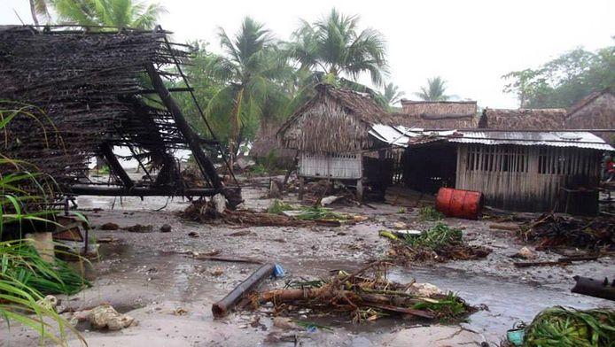De verwoesting van cycloon Pam op het eiland Kiribati.