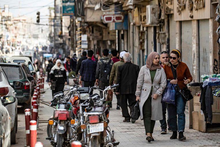 Drukte in Qamishli. Beeld AFP