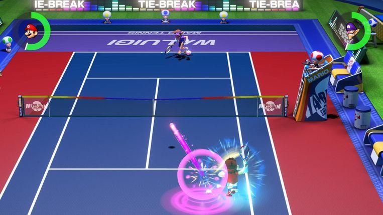 In de multiplayersectie kan er een match worden gespeeld. Maar ook die is wat speelser dan wat u misschien gewend bent van tennis. Beeld Nintendo
