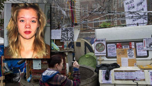 Het Occupy-kamp in Amsterdam, een van de plaatsen waar de verdwenen Kelly (inzet) voor het laatst werd gesignaleerd. © ANP