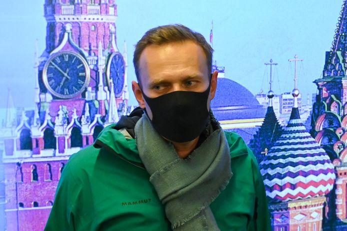 Alexei Navalny à l'aéroport de Moscou, quelques minutes avant son arrestation.