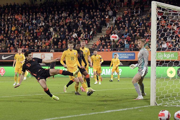 Jurgen Ekkelenkamp scoort de 1-0. Beeld ANP