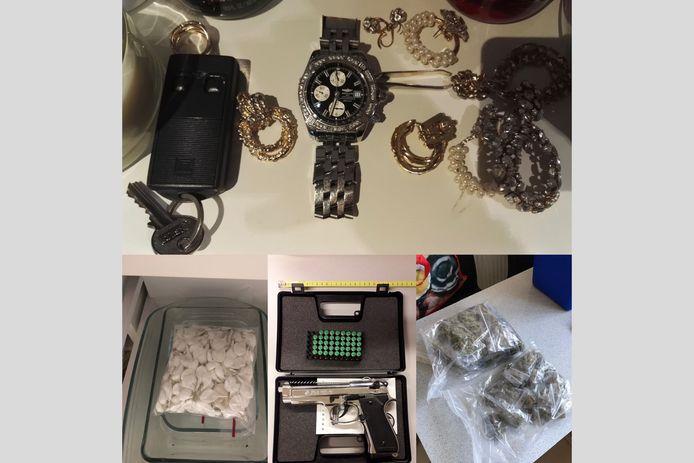 MECHELEN - Tijdens de huiszoekingen nam de politie heel wat drugs, geld en wapens in beslag