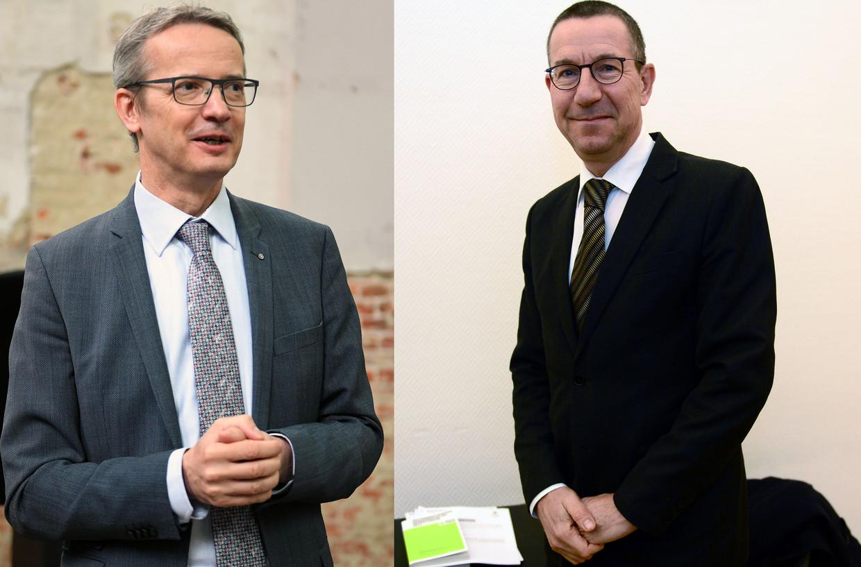 Kandidaten voor de rectorverkiezingen aan de KU Leuven: Luc Sels (l.) en Jan Tytgat. Beeld Vertommen