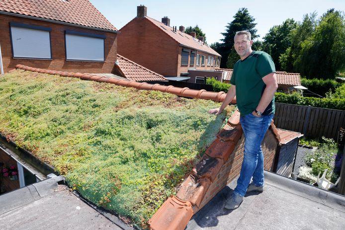 Noud Rooijakkers bij zijn eigen groene dak in Andelst.