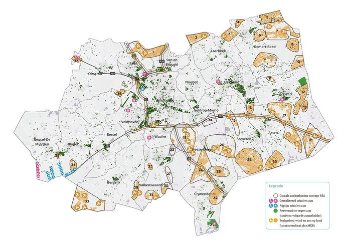 De kaart met de voorlopige zoekgebieden, zoals die is opgenomen in de nieuwste update van de Regionale Energiestrategie (RES).