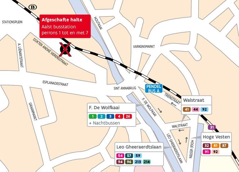 Kaart afgeschafte bushaltes tijdens Aalst carnaval.