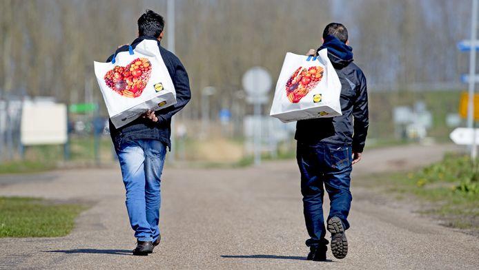 Asielzoekers op weg naar aanmeldcentrum Ter Apel.