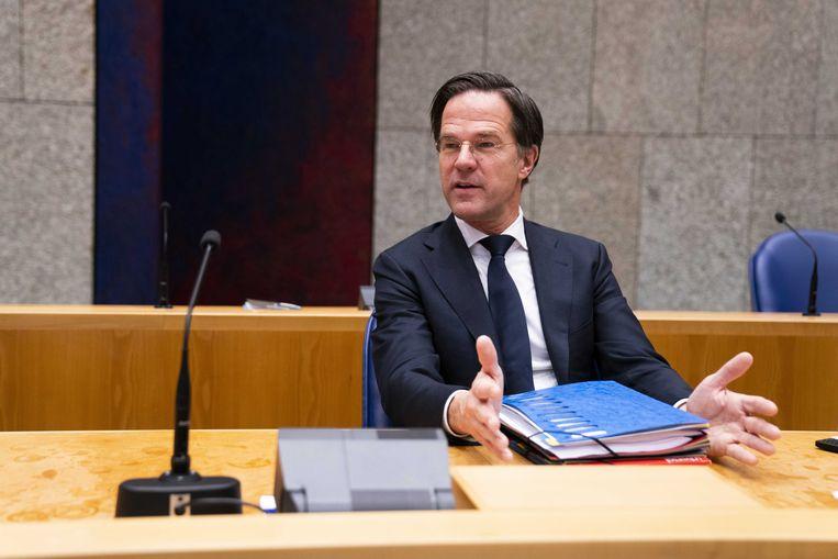 Premier Mark Rutte tijdens het debat over de ontwikkelingen rondom het coronavirus. Beeld ANP