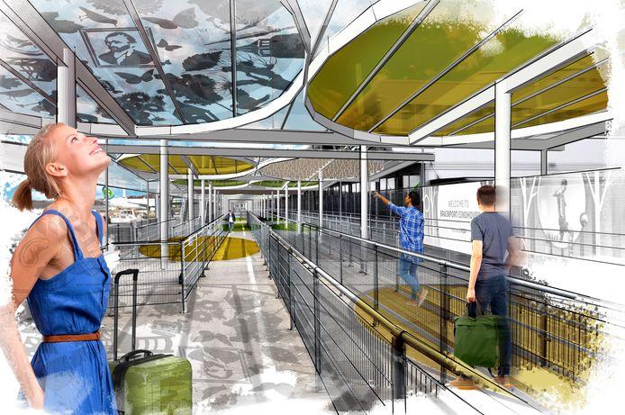 Impressie van de nieuwe overkapping boven het platform van Eindhoven Airport