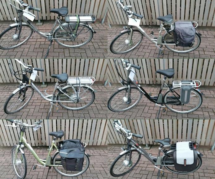 Zes van de gevonden elektrische fietsen.