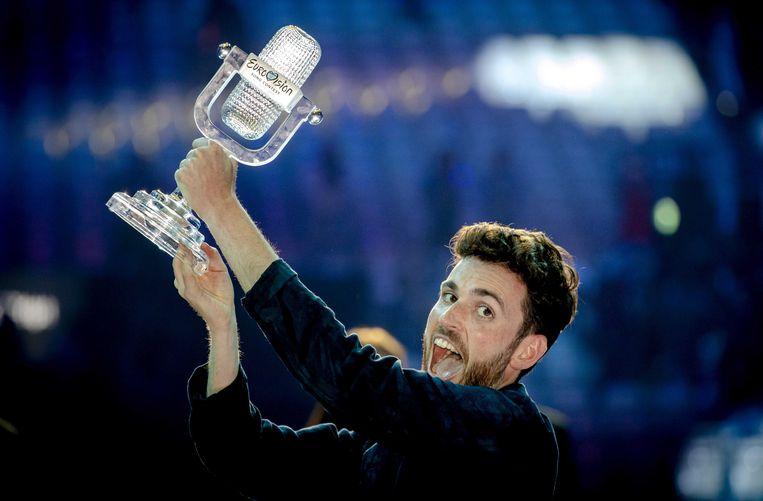 De Nederlandse Duncan Laurence op het podium tijdens het Eurovisie Songfestival vorig jaar. De zanger won met zijn lied Arcade. Beeld ANP