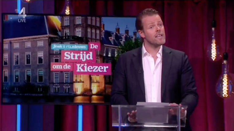 Martijn Koning tijdens zijn roast bij Jinek. Beeld RTL