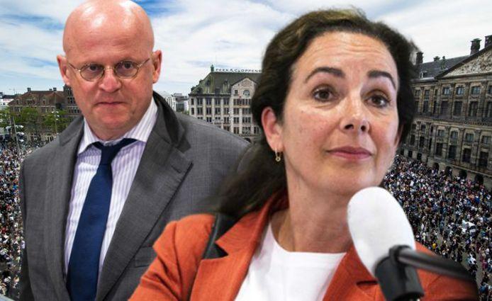 Minister Grapperhaus (Justitie en Veiligheid) en de Amsterdamse burgemeester Femke Halsema hebben op de avond van de demonstratie op de Dam een hoogoplopende ruzie gehad via Whatsapp