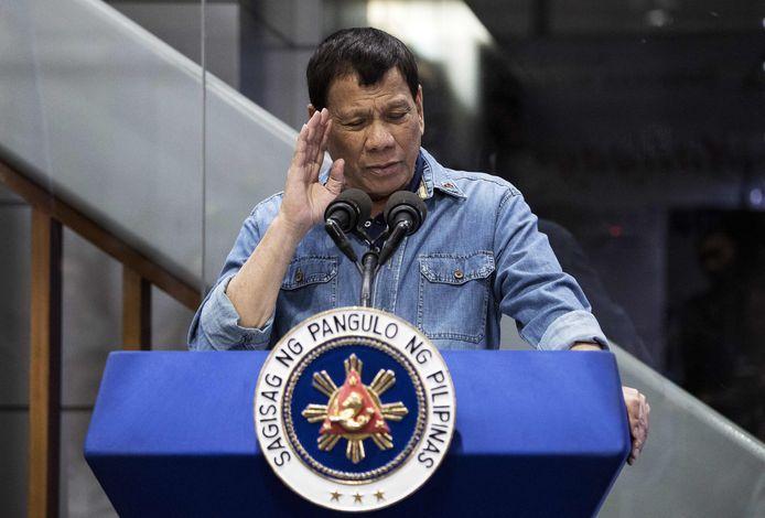 De Filipijnse president Rodrigo Duterte tijdens een publieke toespraak in Manila.