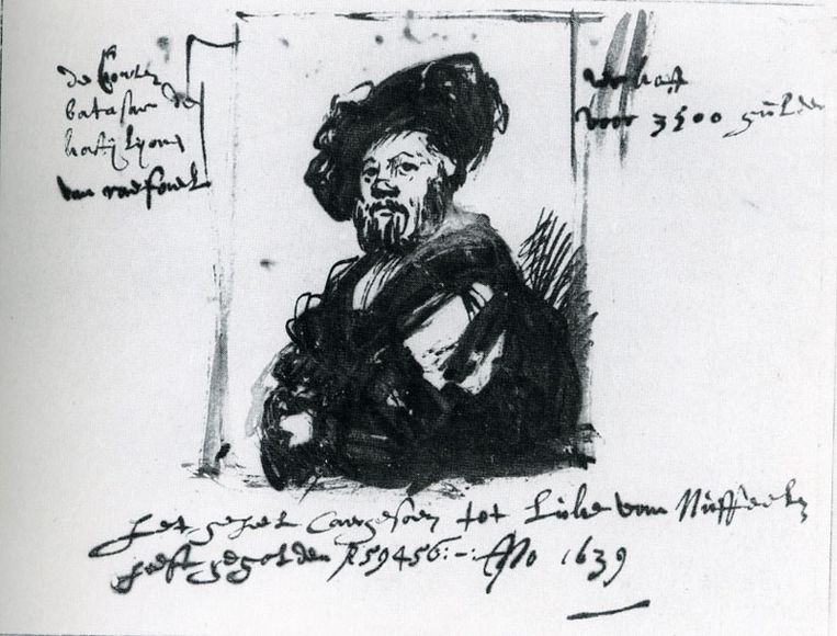 Rembrandts snelle schets anno 1639 van Rafaels portret van Baldassare Castiglione (1515).  Beeld Albertina Wenen