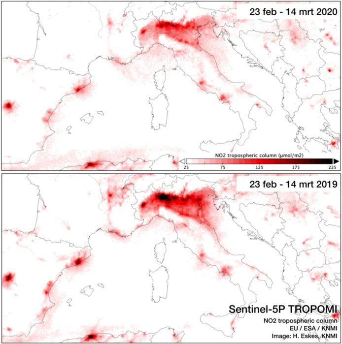 Stikstofdioxide in de lucht boven Noord-Italië.
