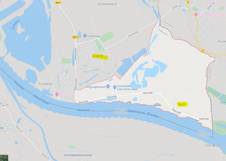 De Rijn stroomt bij Spijk ons land binnen. Beeld GoogleMaps