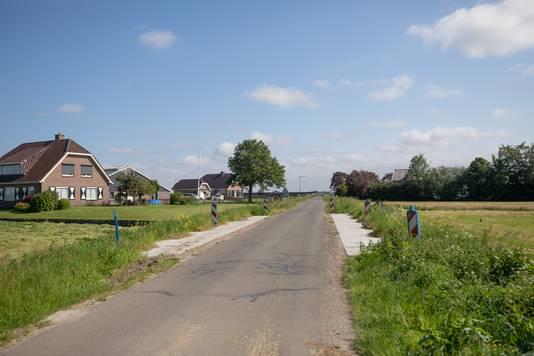De dubbele boerderij van vader en zoon Huijgen en de boerderij van boer Van de Geest tussen de bomen. De boerderijen liggen zo'n 200 meter vanaf de Westdijk aan de Fokjesweg.