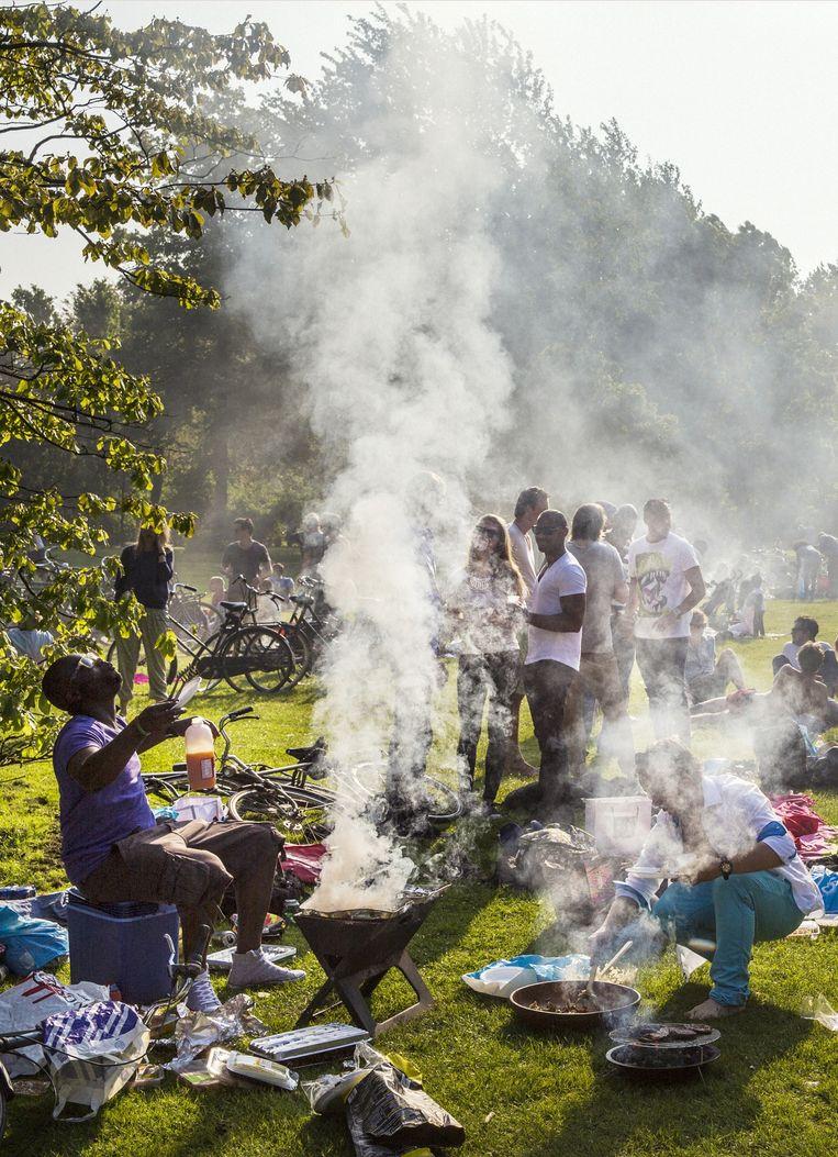 Barbecueën in het Westerpark. Beeld Marc Driessen