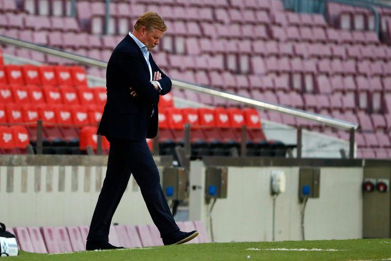 'Dit is niet in mijn handen', klonk Koeman bijna berustend op de persconferentie na het verlies tegen Celta de Vigo. Beeld AP