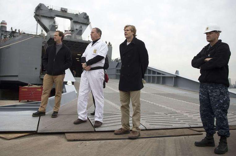 Media kregen op 2 januari de kans de speciale installaties aan boord van de Cape Ray van nabij te bekijken. Beeld afp