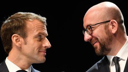 """Franse president Macron duimt voor premier Michel: """"Ik hoop dat hij verkiezingen wint"""""""