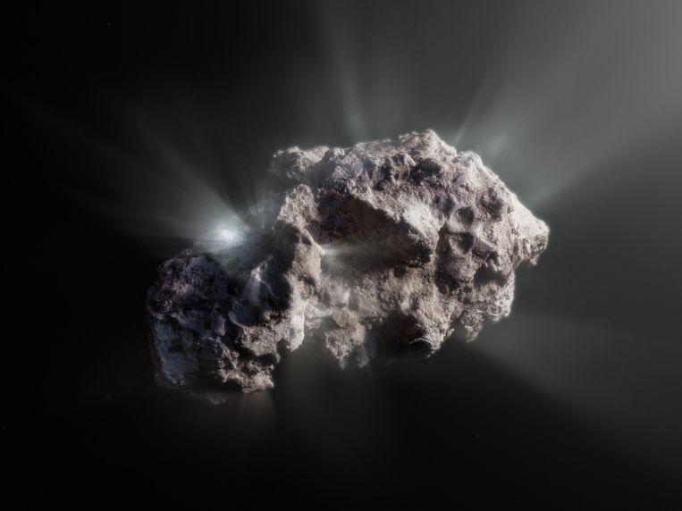 Illustratie van hoe de kern van de komeet Borisov er van nabij uit moet zien. Beeld ESO / M. Kormesser
