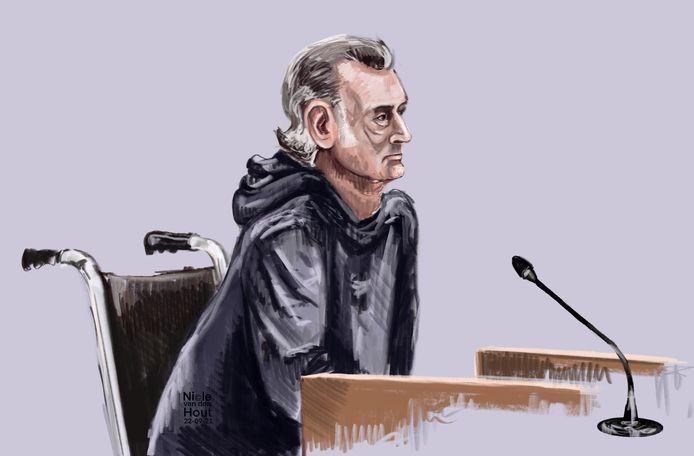 Rechtbanktekening van Johan J. uit Meerkerk die verdacht wordt van het misbruiken van drie van zijn dochters.