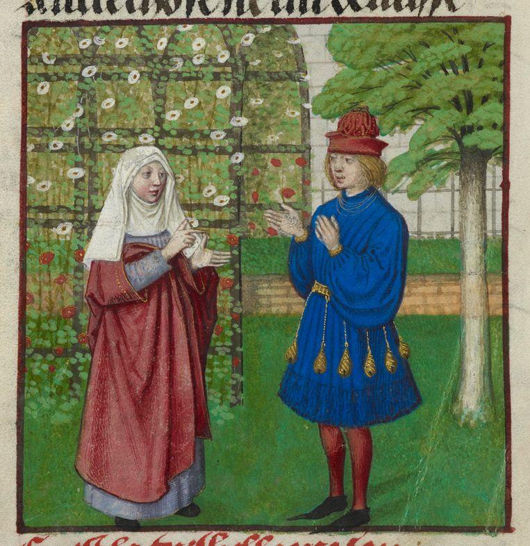 Illustratie uit Roman de la Rose (1490-1500).  Beeld Imageselect