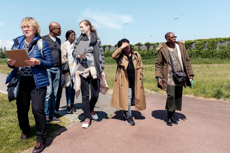 De eerste bewonersbijeenkomst trok slechts drie buurtbewoners, maar in het park komt er van alles aan de orde. Beeld Jakob Van Vliet