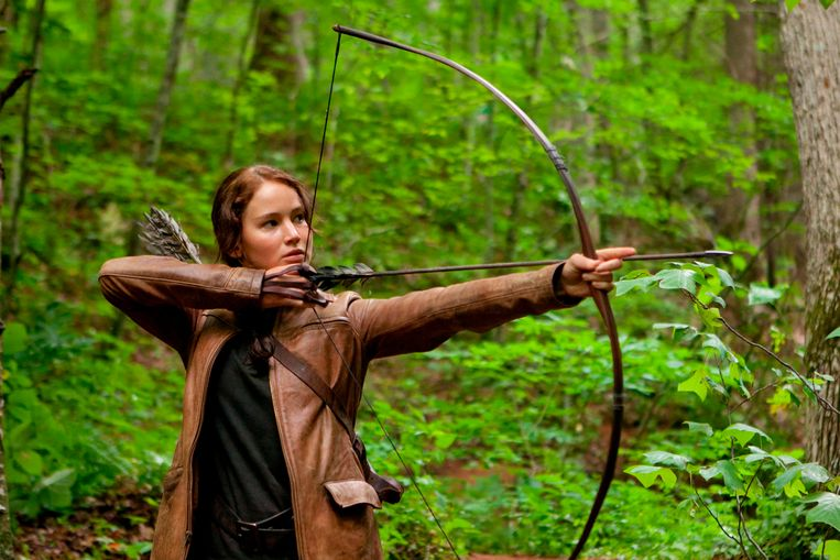 Jennifer Lawrence als Katniss Everdeen in 'The Hunger Games'. Beeld AP