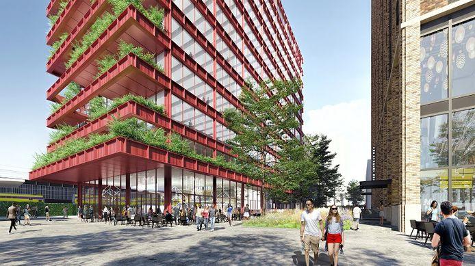 Impressie van nieuw kantoorgebouw Lichthoven bij station Eindhoven (links) en The Student Hotel.