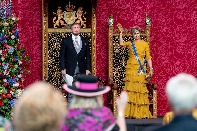 De koning en koningin tijdens de troonrede van vorig jaar. Beeld Brunopress