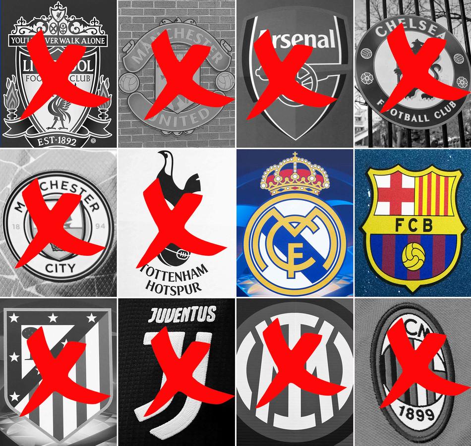 Alleen Barça en Real Madrid zijn officieel nog over uit de groep van 12 die de Super League initieerde.