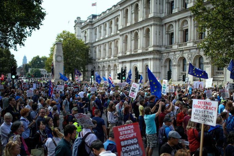 Veel demonstranten dragen Europese vlaggen met zich mee. Beeld AP