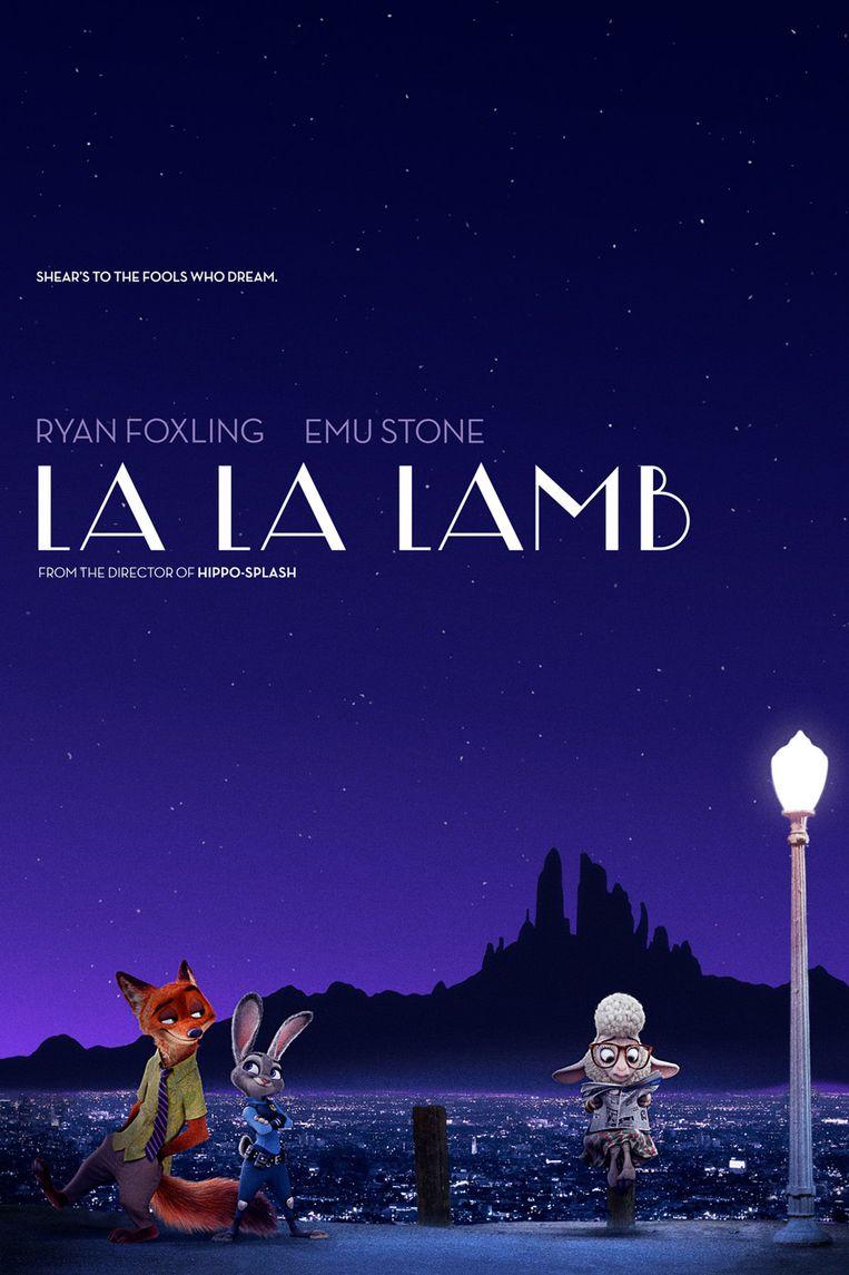 La La Land wordt getransformeerd in La La Lamb. In de hoofdrollen herkent u de sterren uit Zootopia. Beeld Oh my Disney