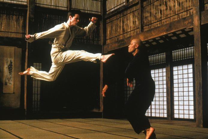 Neo en Morhpeus in The Matrix.
