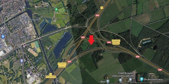 De uitkijktoren komt te staan midden in het knooppunt De Baars langs de A58.