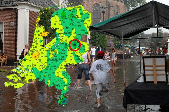 Wateroverlast in Hellendoorn.