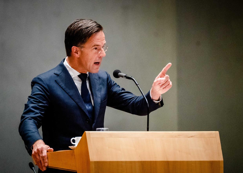 Demissionair premier Mark Rutte tijdens de tweede dag van de Algemene Politieke Beschouwingen, het debat na de Troonrede op Prinsjesdag.