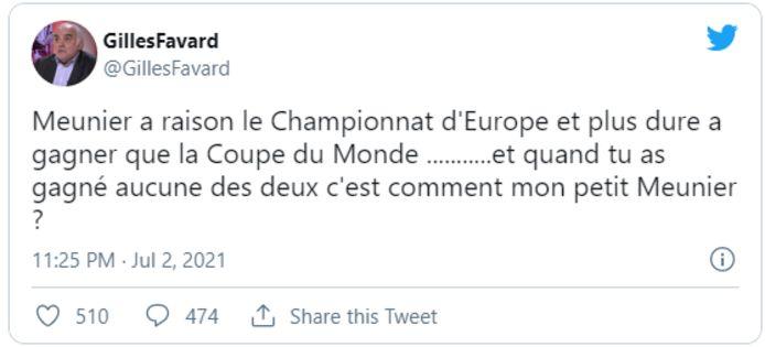 Gilles Favard kroop in z'n Twitterpen.