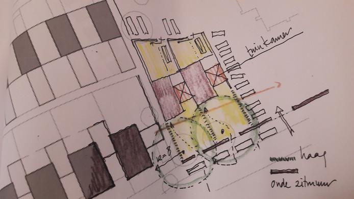 Twee extra woningen in een schets van architect Jac. de Brouwer. Vanaf de Van Malsenstraat gezien. Links staan bestaande woningen.
