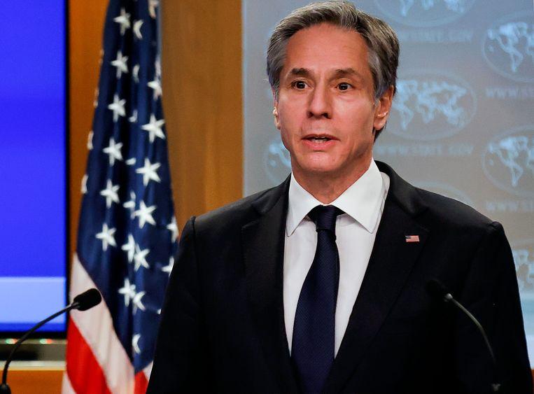 De Amerikaanse minister van Buitenlandse Zaken Antony Blinken maakte het nieuws bekend. Beeld AFP