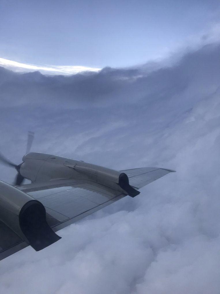 Het oog van de orkaan vanuit de lucht. Beeld NOAA via REUTERS