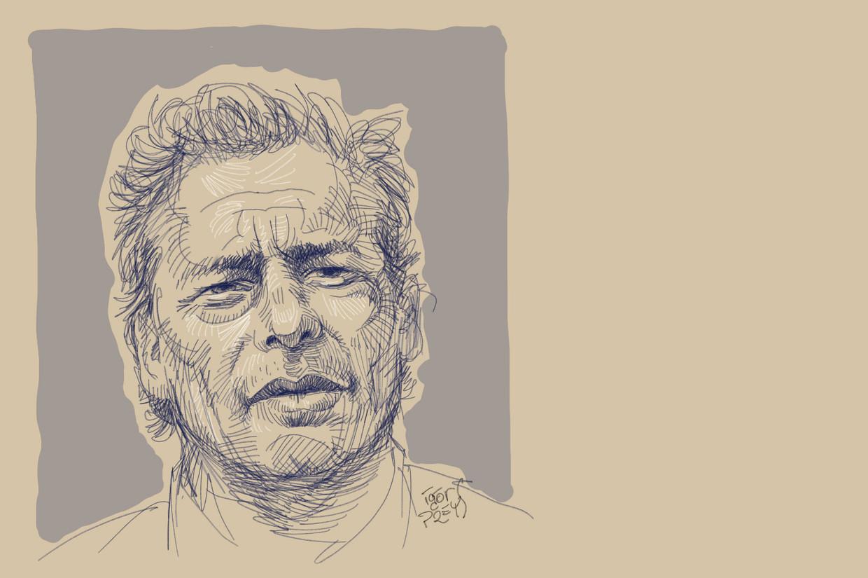 Een portrettekening van Steve Bakelmans. Beeld BELGA