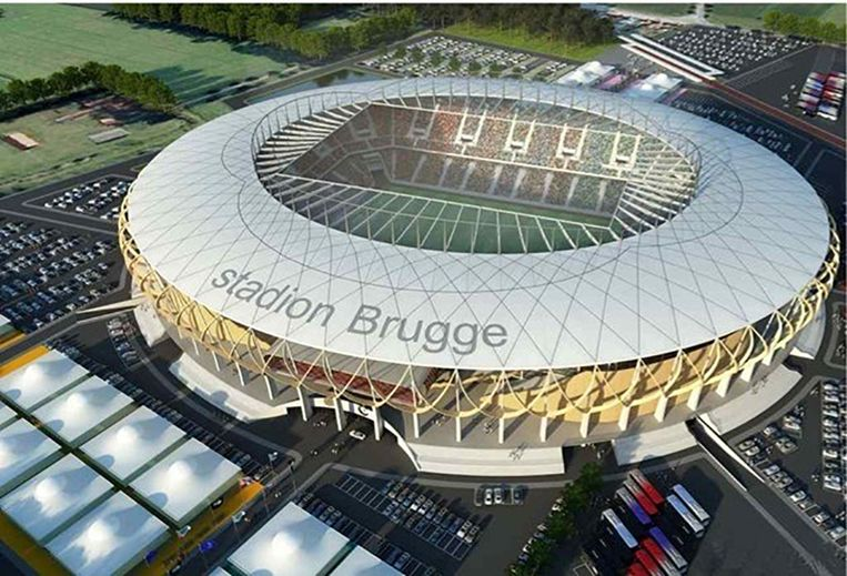 Zo zou het nieuwe stadion van Club Brugge er moeten gaan uitzien. Beeld RV