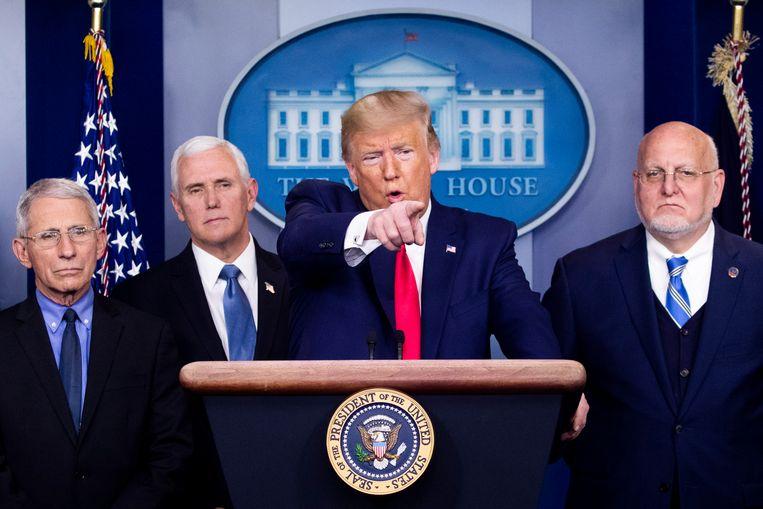 Amerikaans president Donald Trump tijdens een persmoment. Beeld EPA