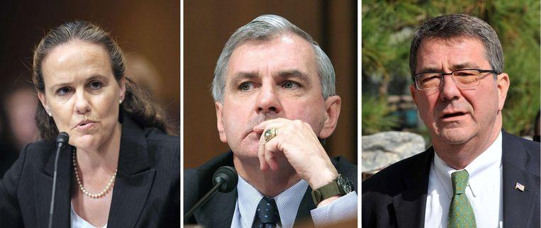 Twee van Obama's kandidaten, Flournoy (links) en senator Jack Reed (midden) zien af van de post. Rechts oud-onderminister van Defensie Ashton Carter. Beeld afp