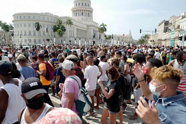 Demonstraties zijn zeldzaam in het communistische Cuba Beeld AFP